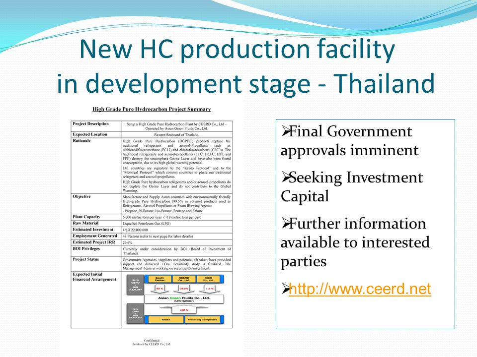 New HC production facility in development stage - Thailand