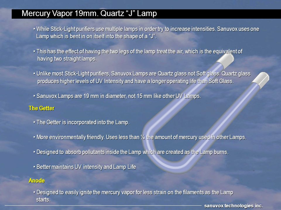 Mercury Vapor 19mm. Quartz J Lamp