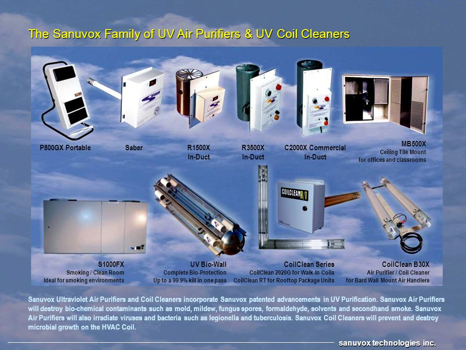 The Sanuvox Family of UV Air Purifiers & UV Coil Cleaners