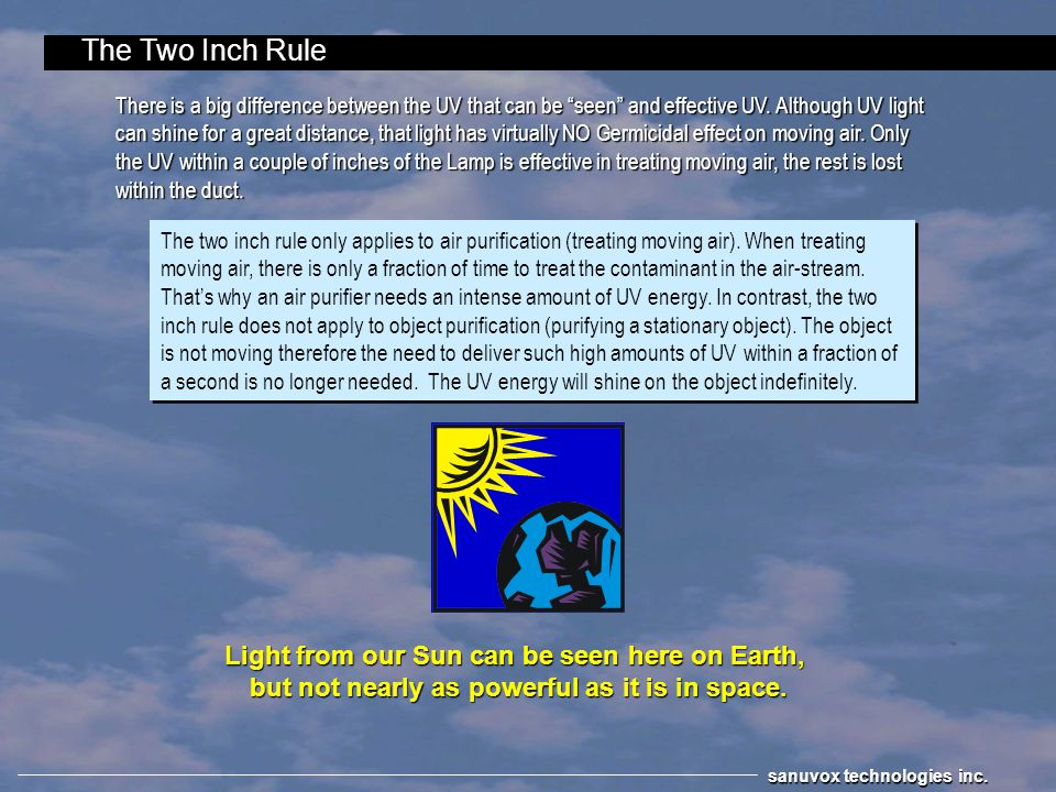 The Two Inch Rule Light from our Sun can be seen here on Earth,