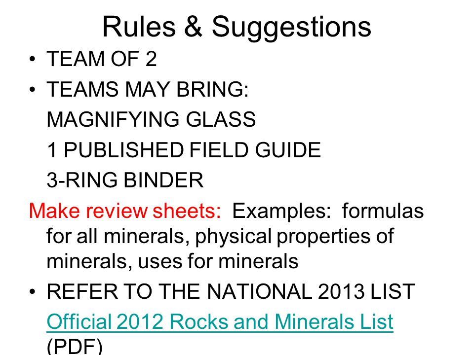 Rules & Suggestions TEAM OF 2 TEAMS MAY BRING: MAGNIFYING GLASS