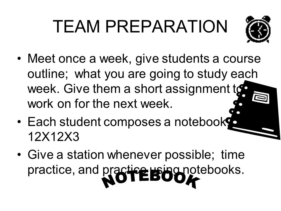 TEAM PREPARATION NOTEBOOK