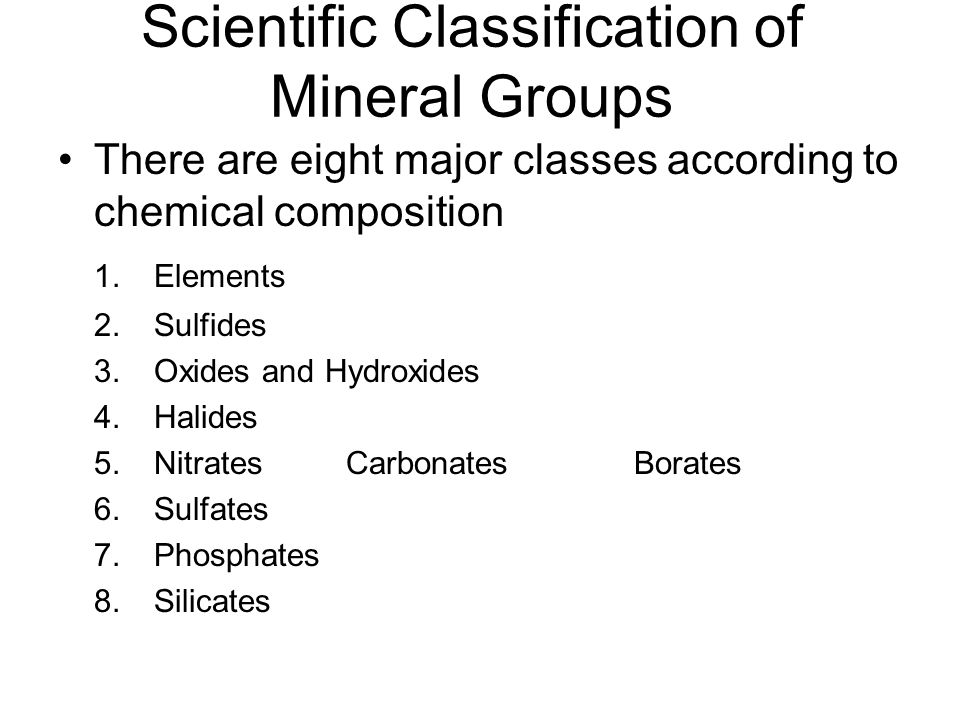 Scientific Classification of Mineral Groups