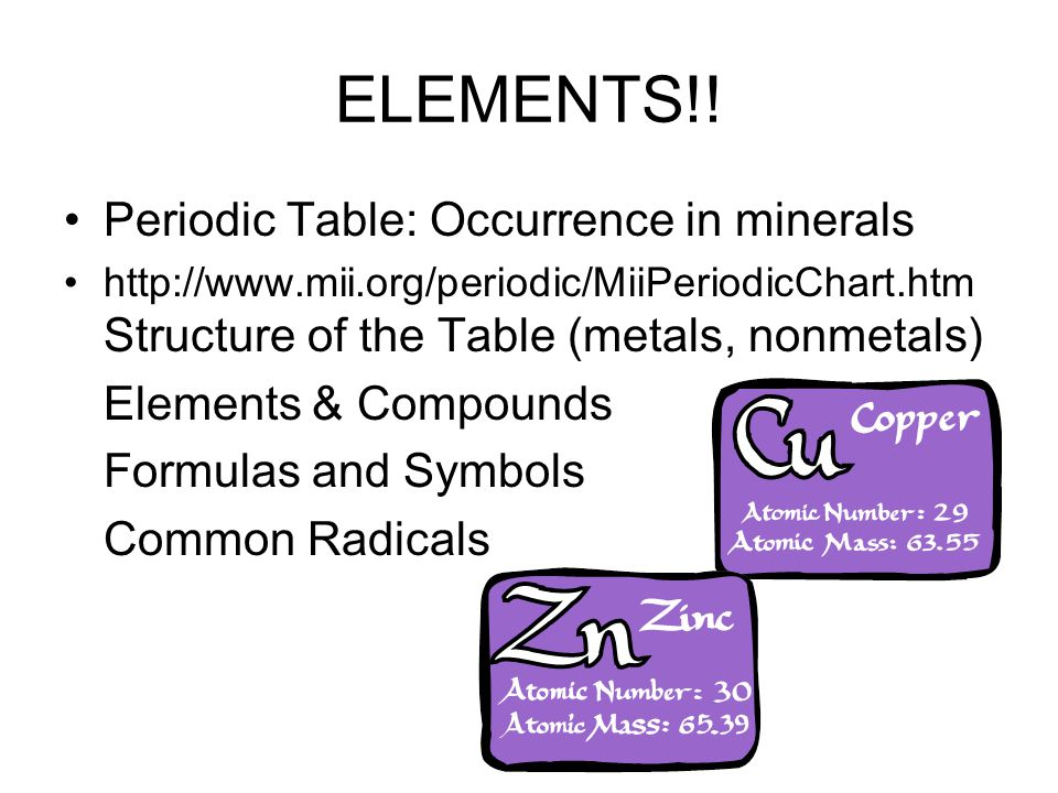 ELEMENTS!! Periodic Table: Occurrence in minerals Elements & Compounds