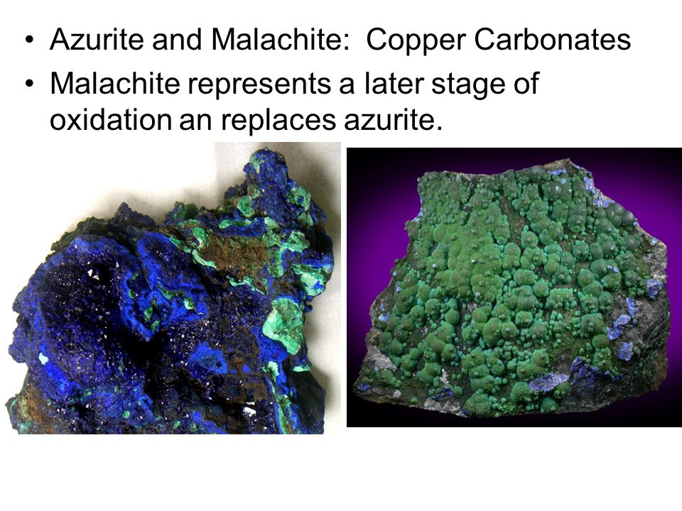 Azurite and Malachite: Copper Carbonates