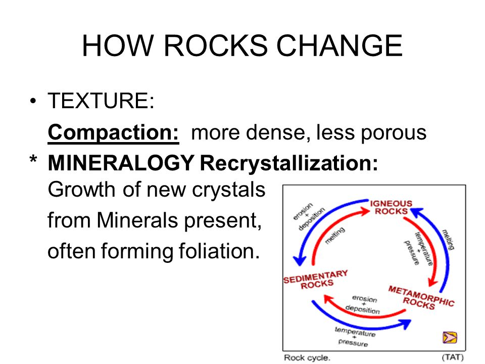 HOW ROCKS CHANGE TEXTURE: Compaction: more dense, less porous