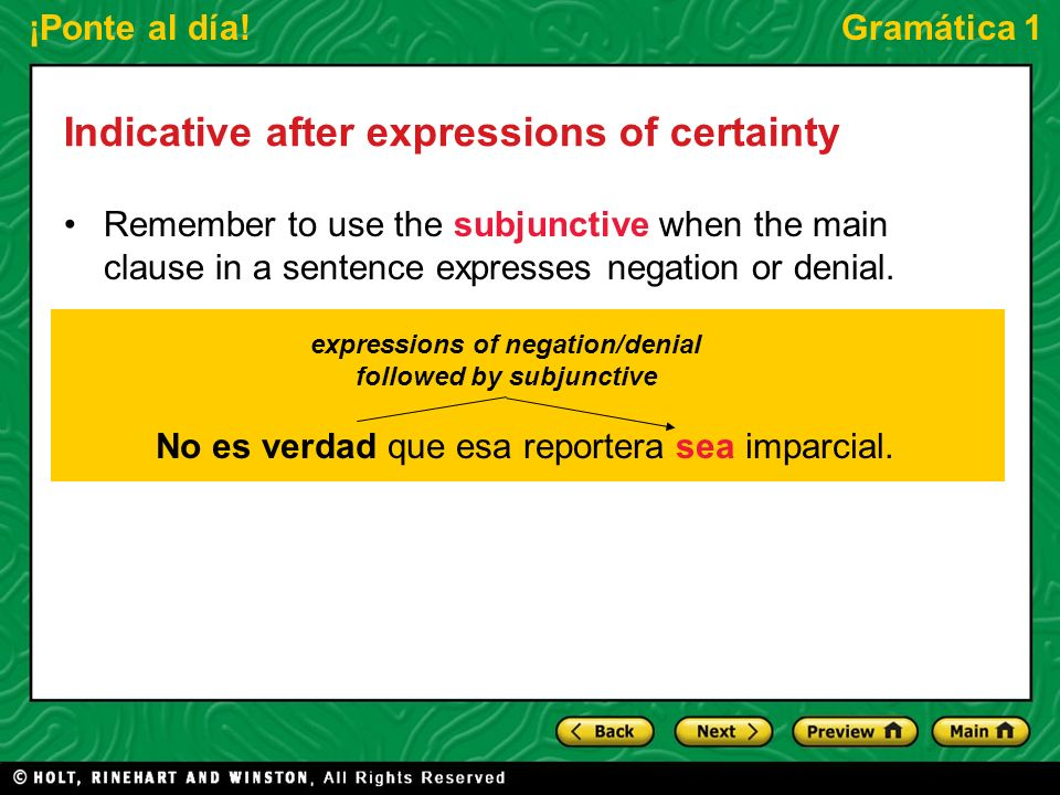 expressions of negation/denial followed by subjunctive