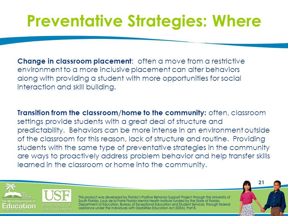 Preventative Strategies: Where