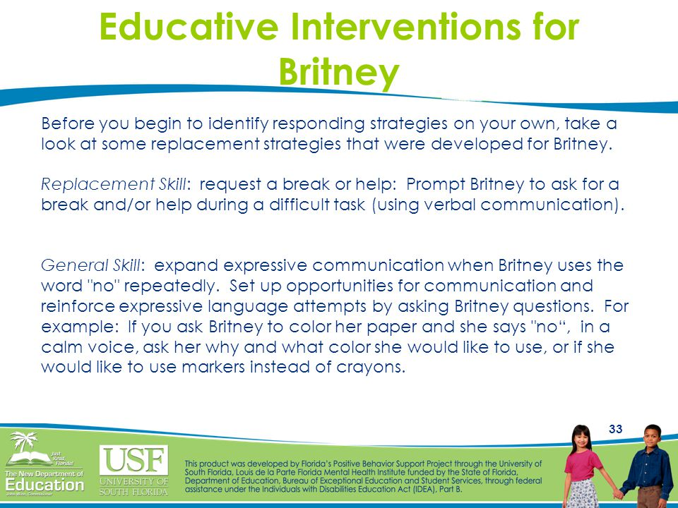 Educative Interventions for Britney