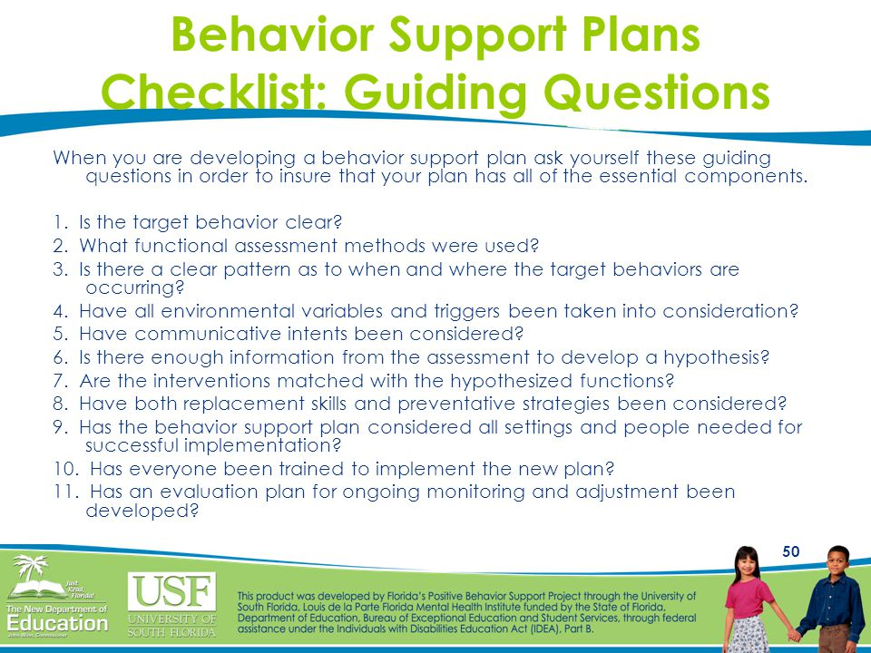 Behavior Support Plans Checklist: Guiding Questions