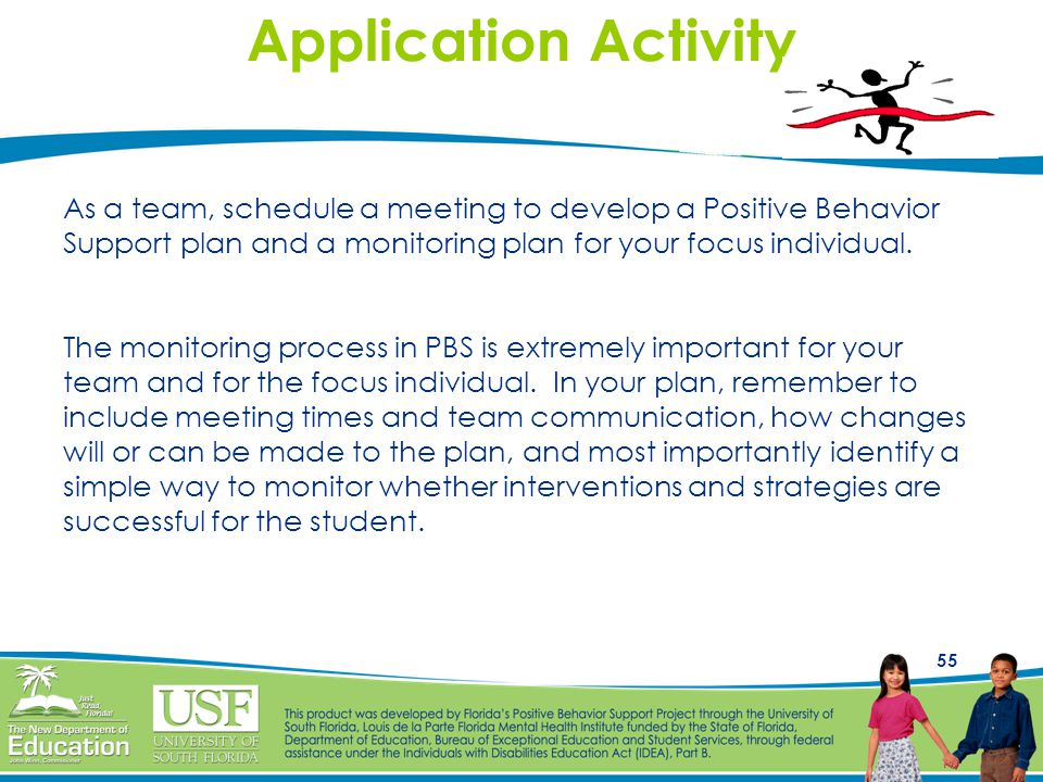 Application Activity As a team, schedule a meeting to develop a Positive Behavior. Support plan and a monitoring plan for your focus individual.