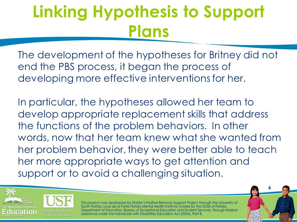 Linking Hypothesis to Support Plans