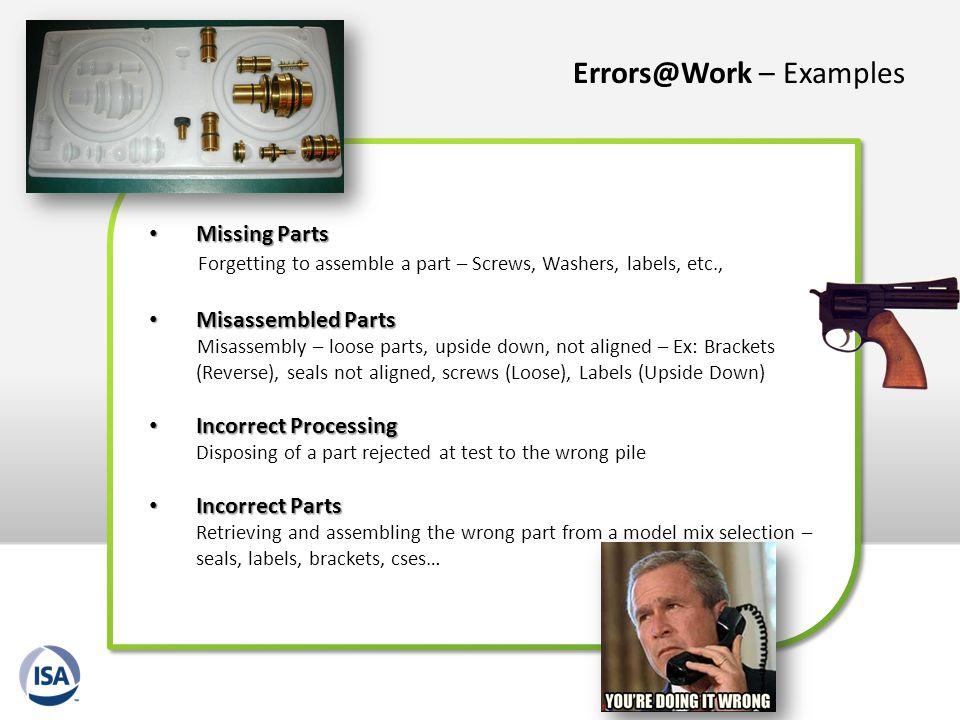 Errors@Work – Examples