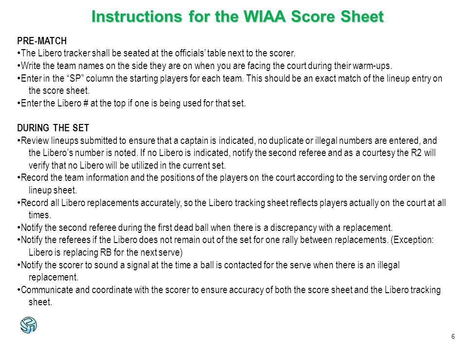 Instructions for the WIAA Score Sheet
