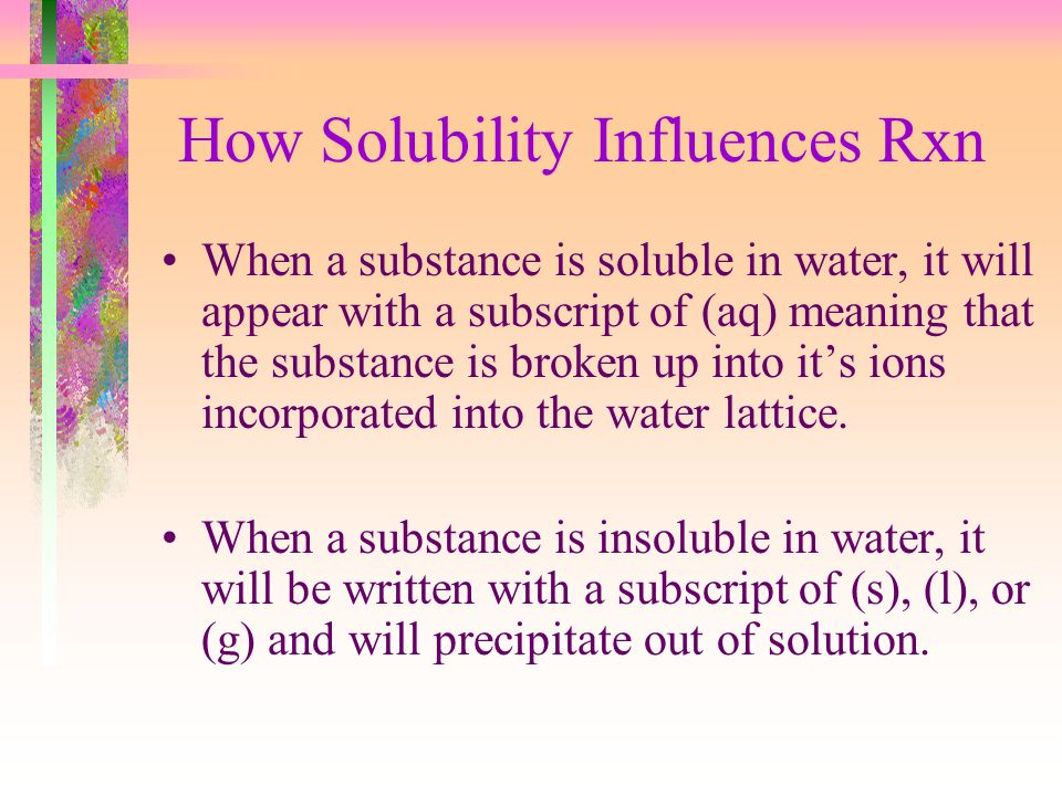 How Solubility Influences Rxn