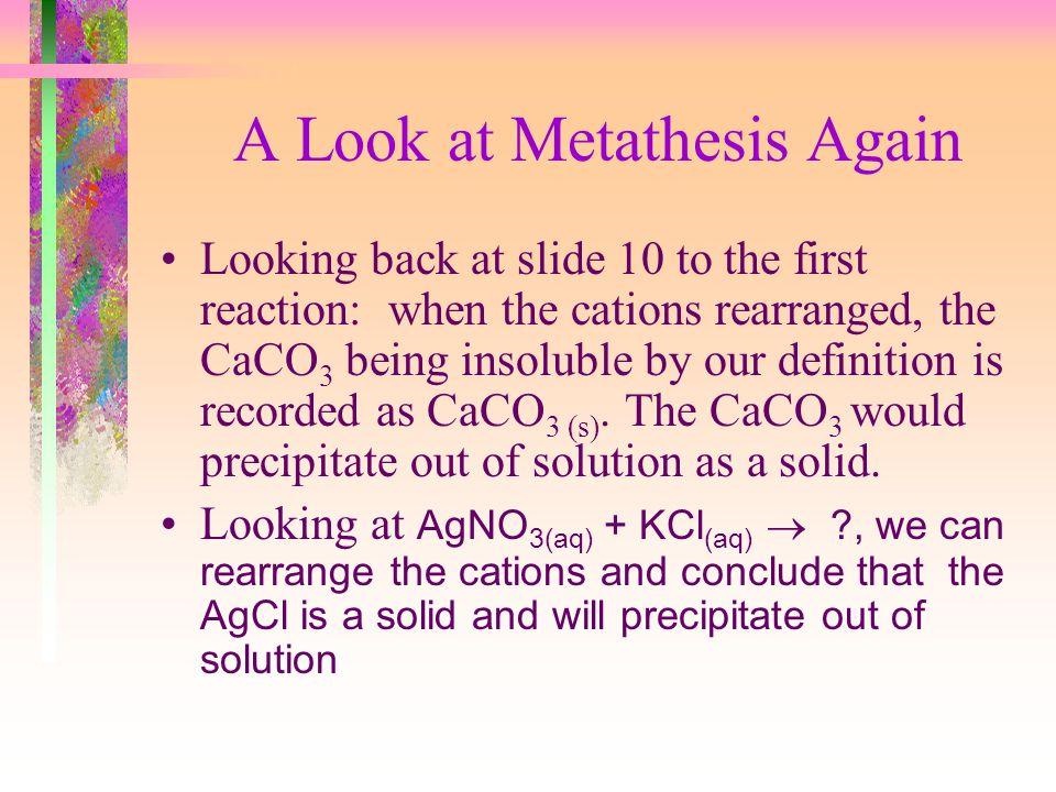 A Look at Metathesis Again