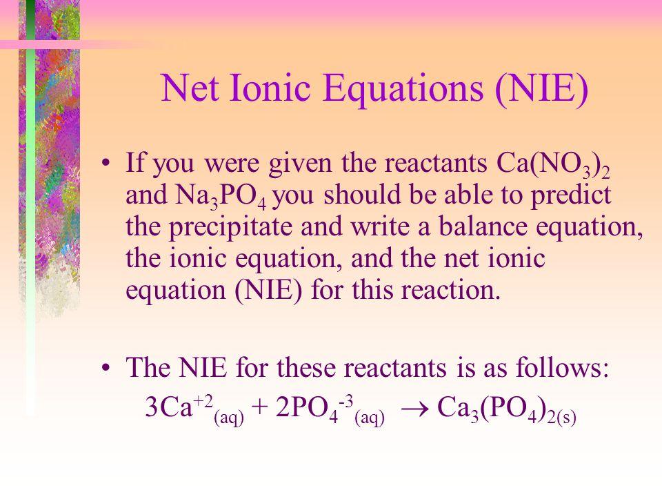 Net Ionic Equations (NIE)