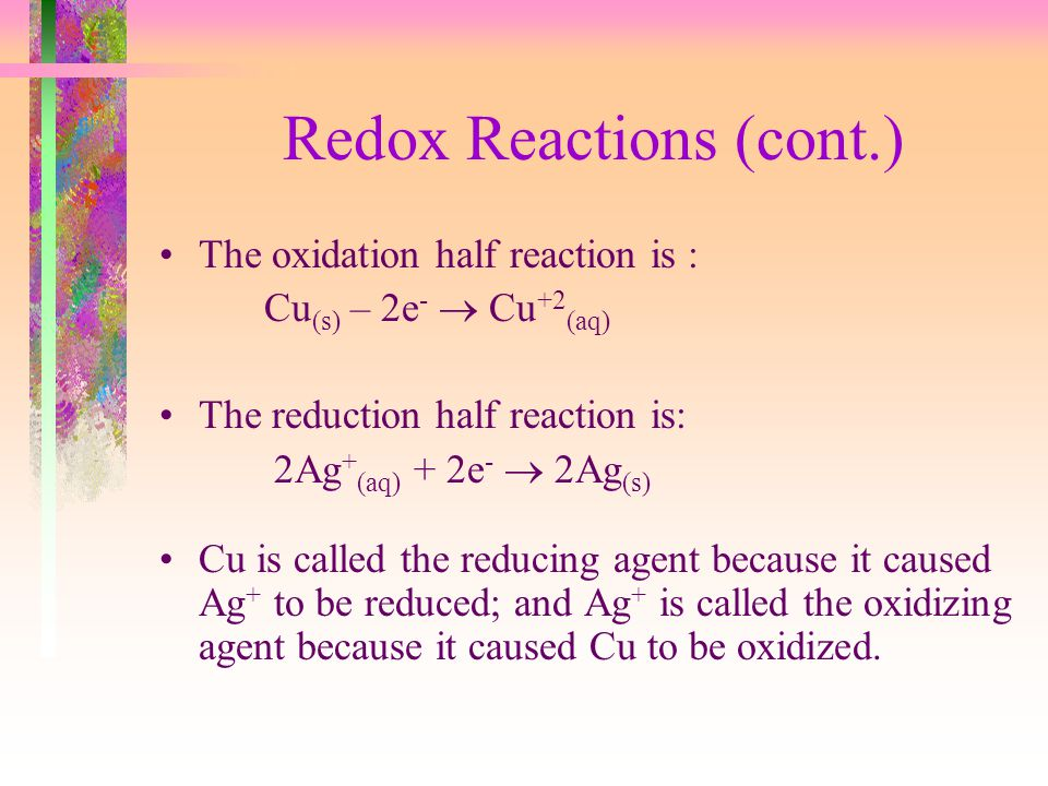 Redox Reactions (cont.)
