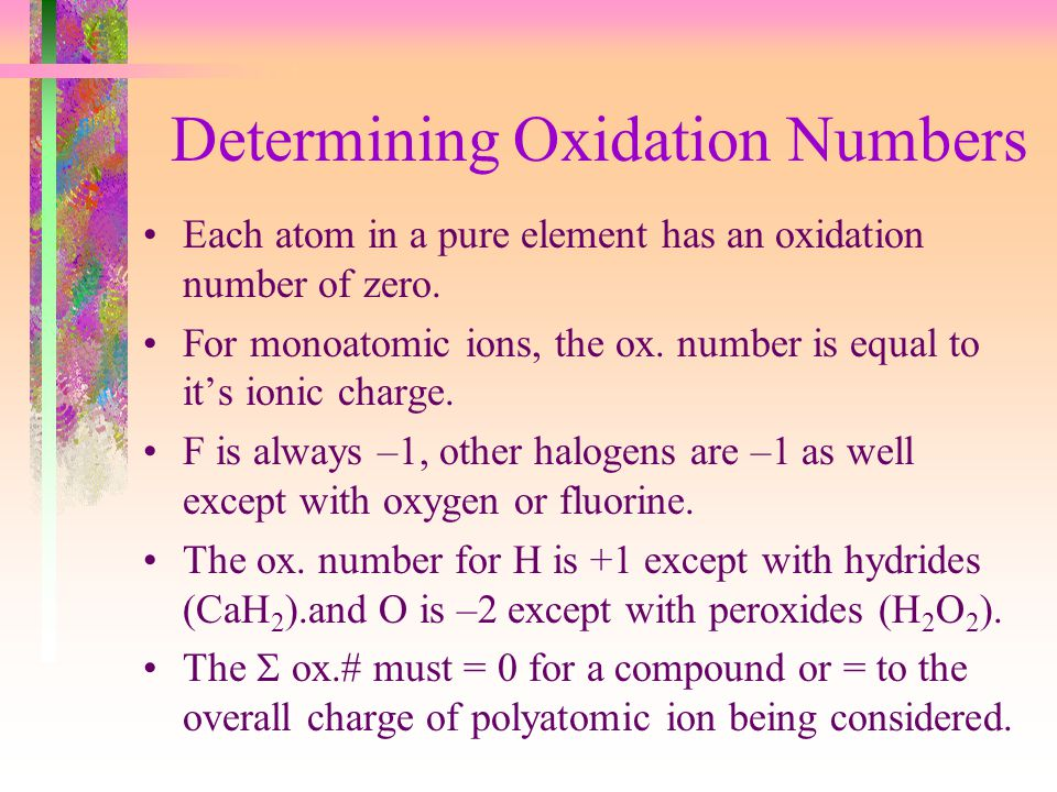 Determining Oxidation Numbers