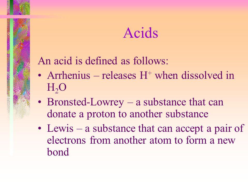 Acids An acid is defined as follows:
