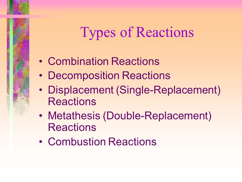 Types of Reactions Combination Reactions Decomposition Reactions