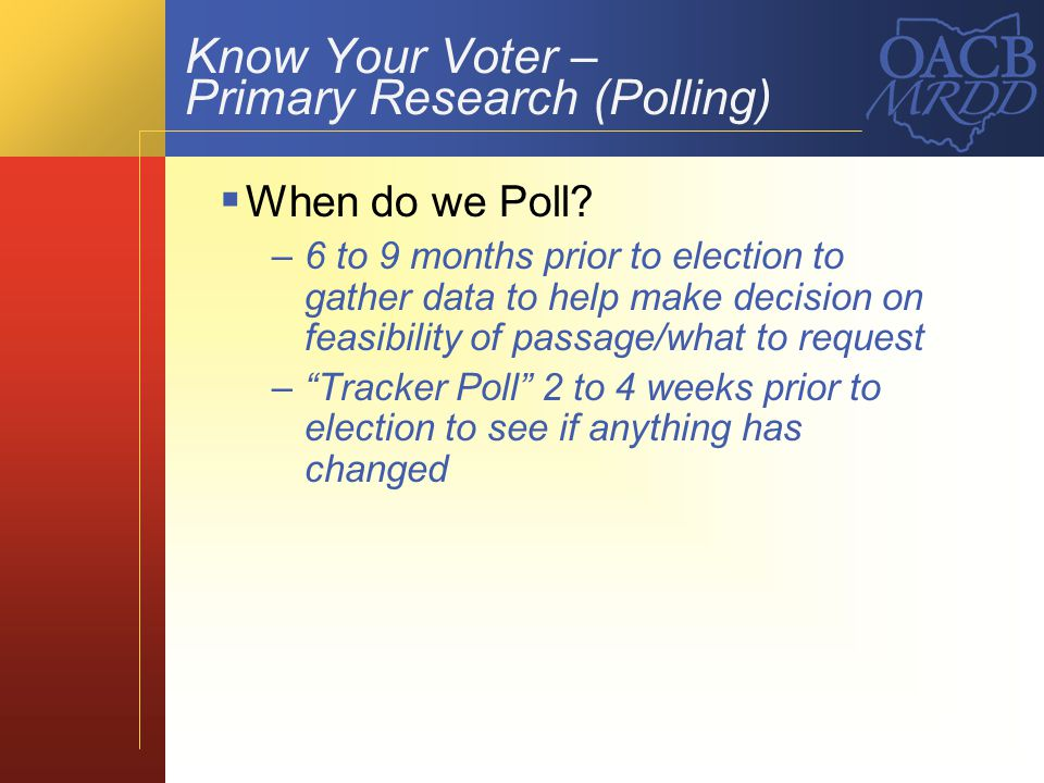 Know Your Voter – Primary Research (Polling)