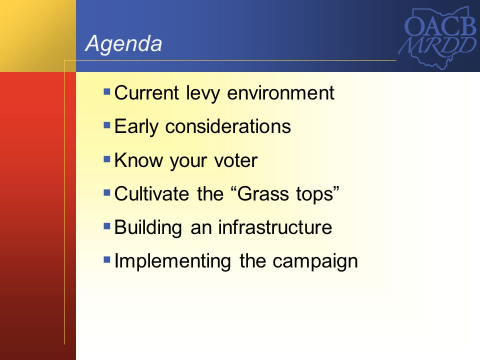 Agenda Current levy environment Early considerations Know your voter