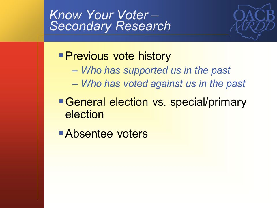 Know Your Voter – Secondary Research