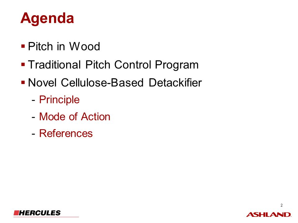 Agenda Pitch in Wood Traditional Pitch Control Program
