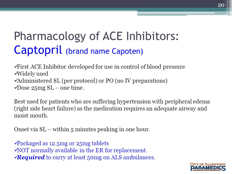 Pharmacology of ACE Inhibitors: Captopril (brand name Capoten)
