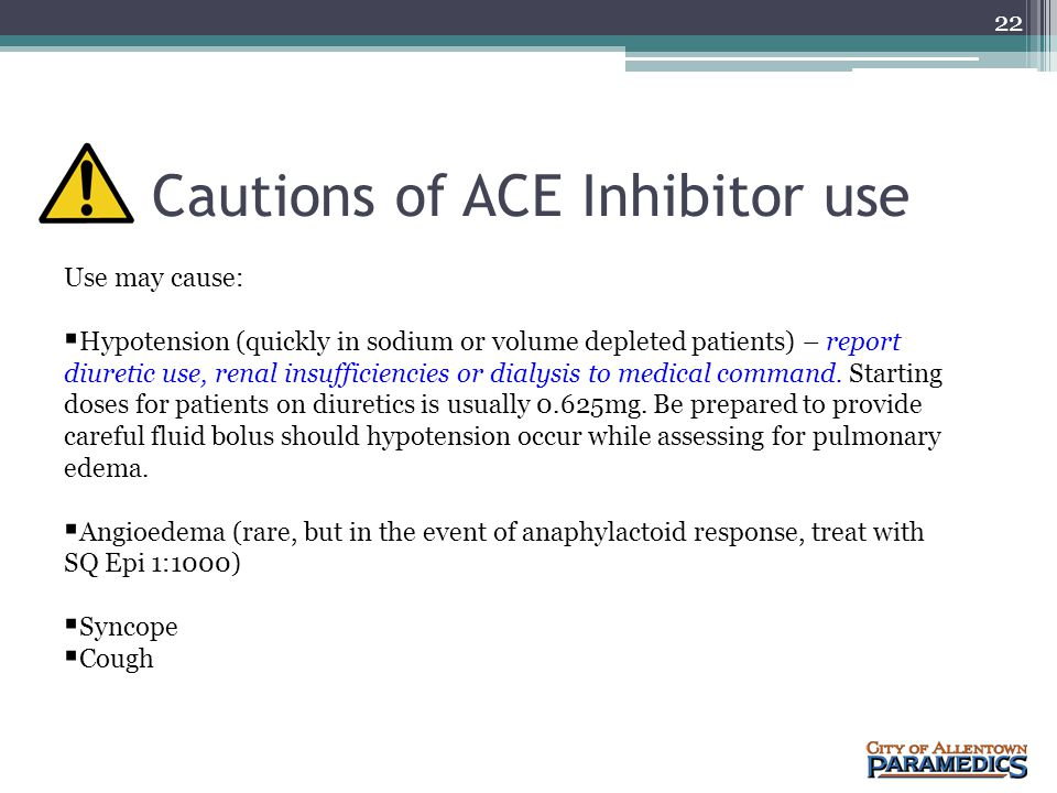 Cautions of ACE Inhibitor use
