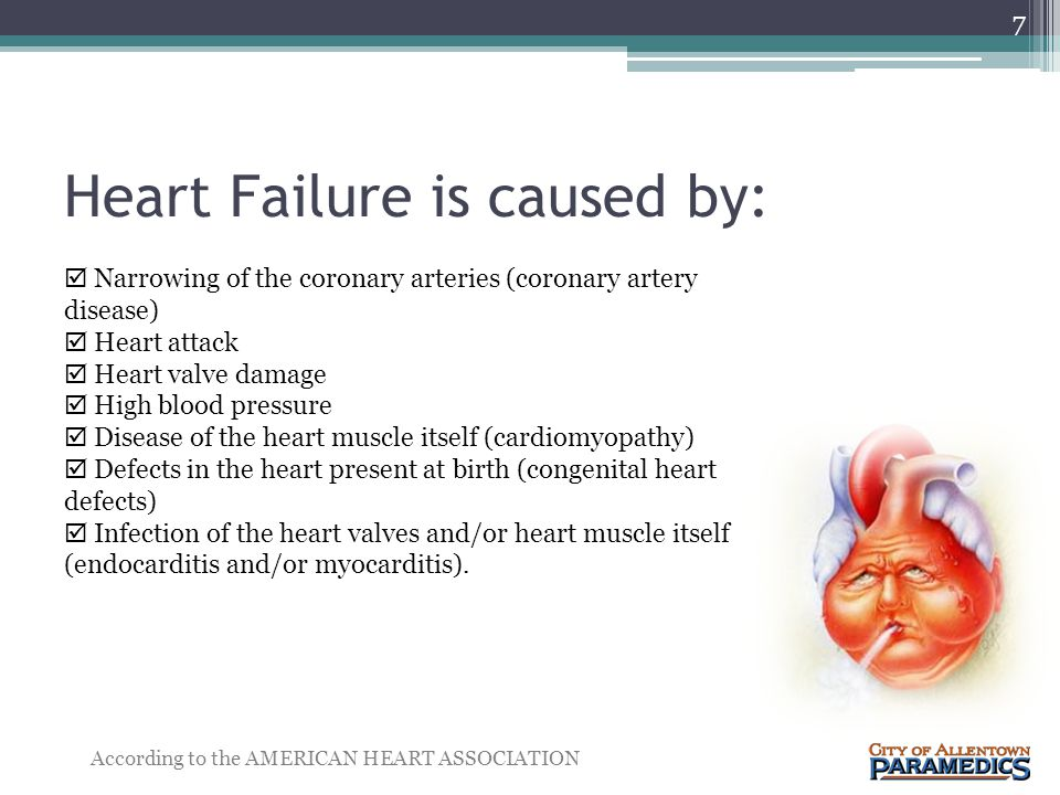 Heart Failure is caused by: