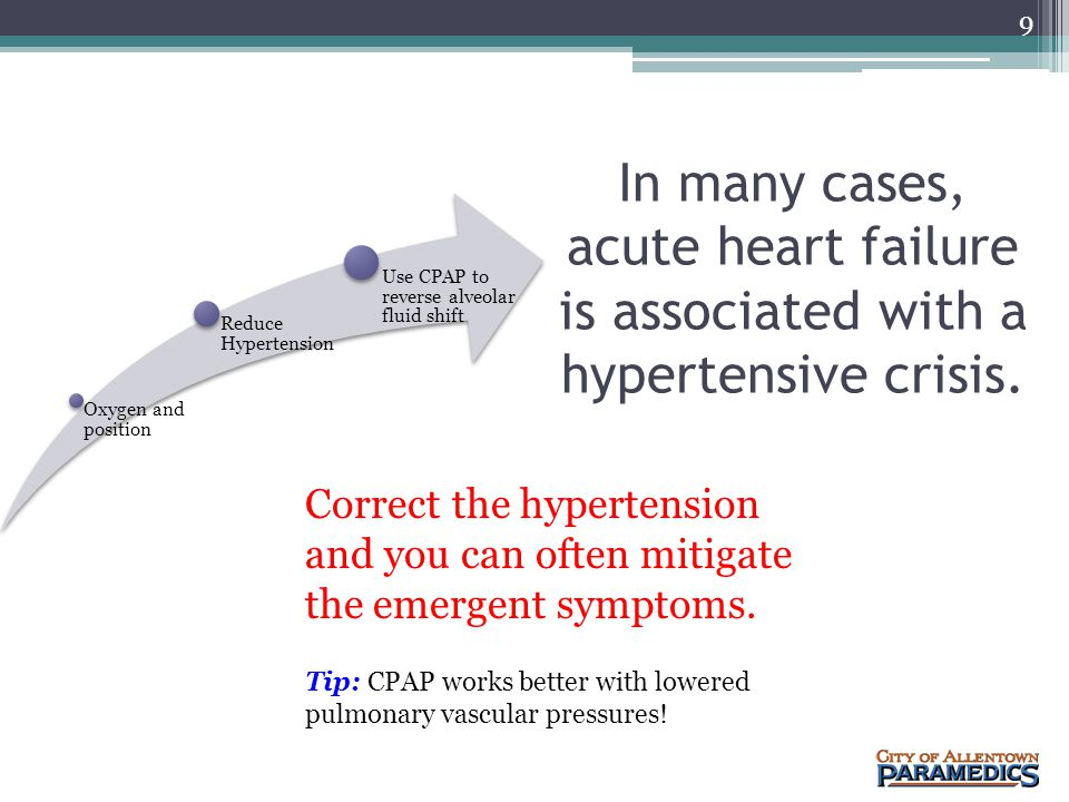 Oxygen and position Reduce Hypertension. Use CPAP to reverse alveolar fluid shift.