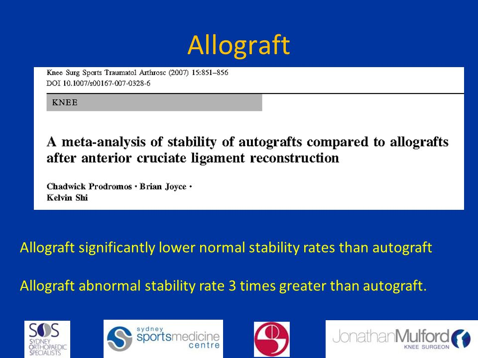 Allograft Allograft significantly lower normal stability rates than autograft.