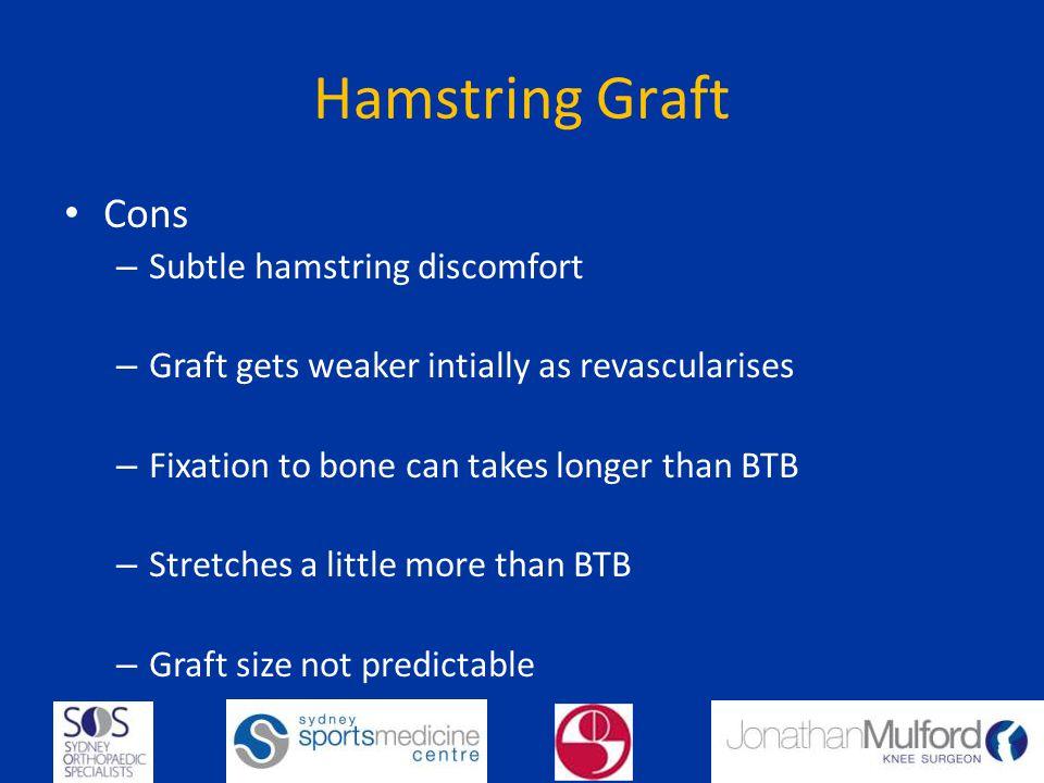 Hamstring Graft Cons Subtle hamstring discomfort