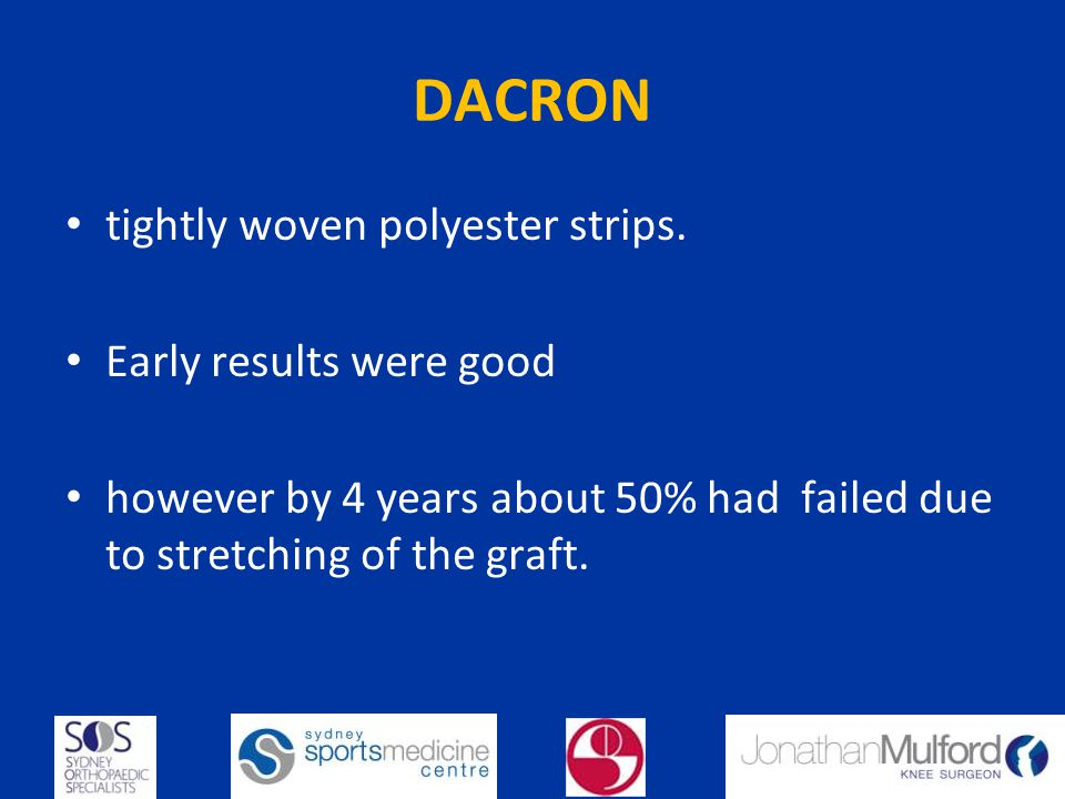 DACRON tightly woven polyester strips. Early results were good