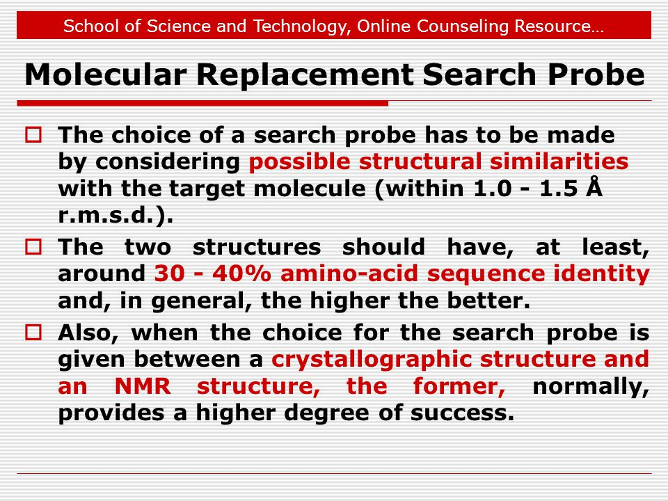 Molecular Replacement Search Probe