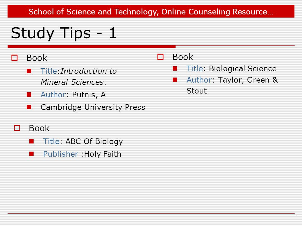 Study Tips - 1 Book Book Book Title:Introduction to Mineral Sciences.