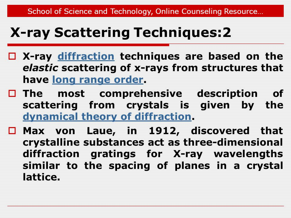 X-ray Scattering Techniques:2
