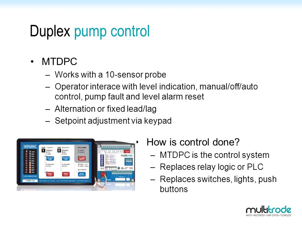 Duplex pump control MTDPC How is control done