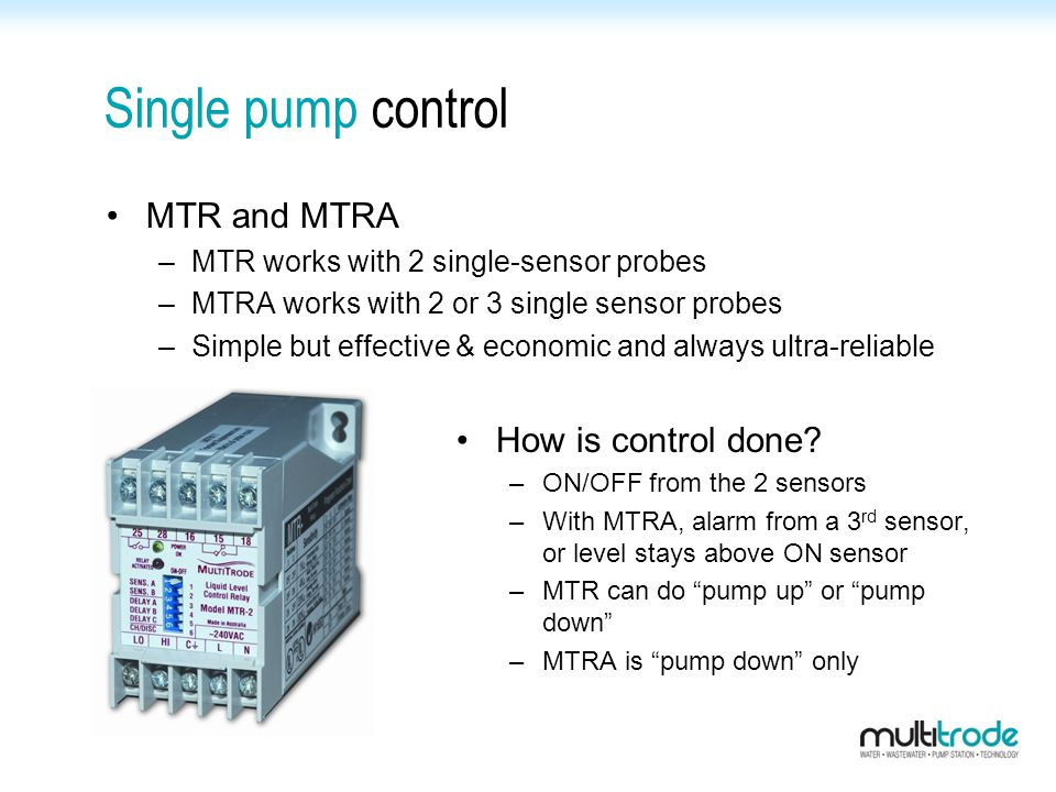Single pump control MTR and MTRA How is control done
