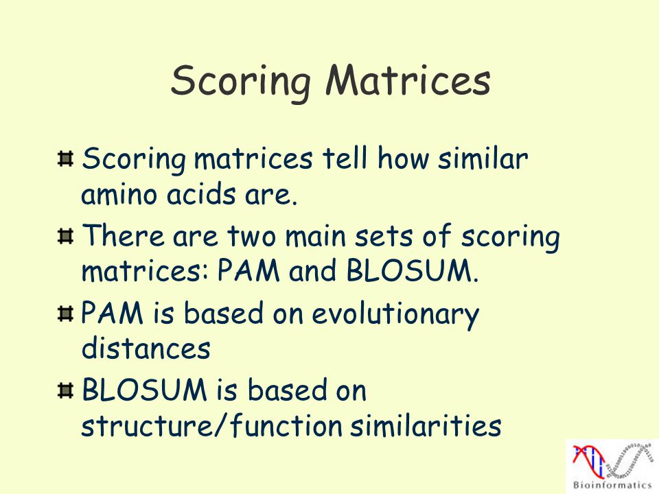 Scoring Matrices Scoring matrices tell how similar amino acids are.