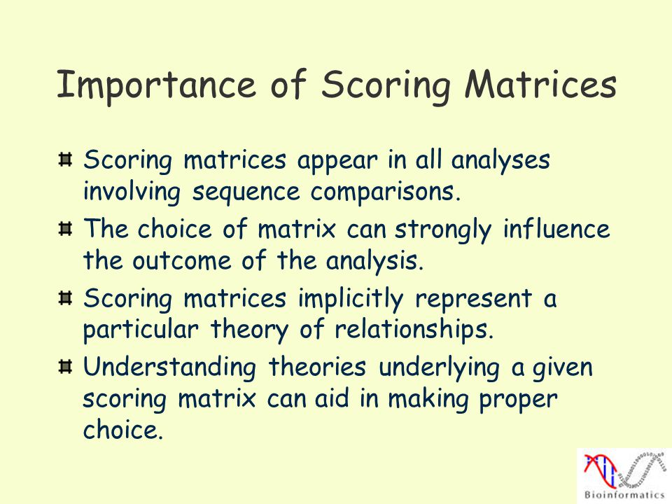Importance of Scoring Matrices