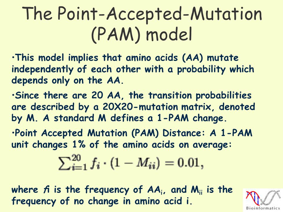 The Point-Accepted-Mutation (PAM) model