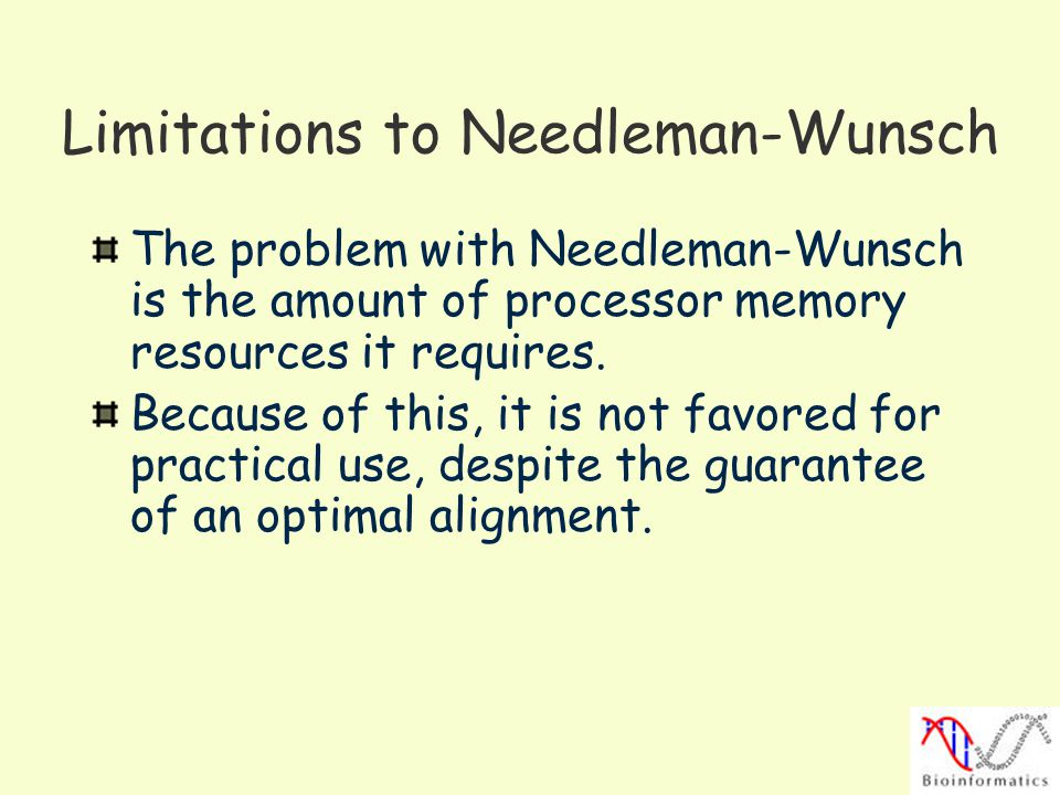 Limitations to Needleman-Wunsch