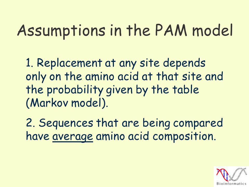 Assumptions in the PAM model