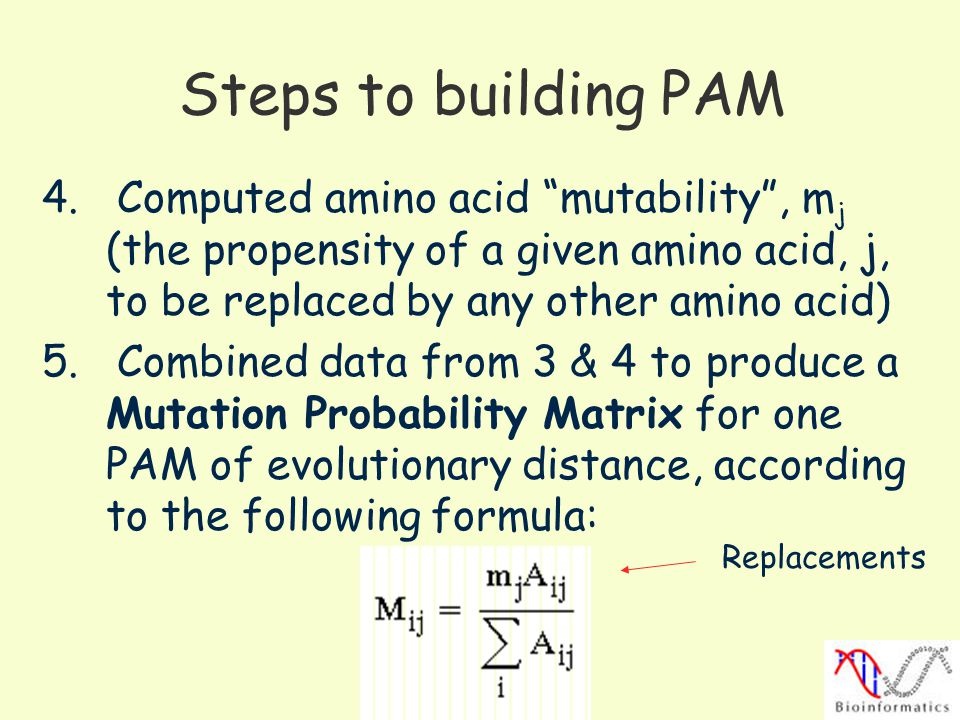 Steps to building PAM 4. Computed amino acid mutability , mj (the propensity of a given amino acid, j, to be replaced by any other amino acid)