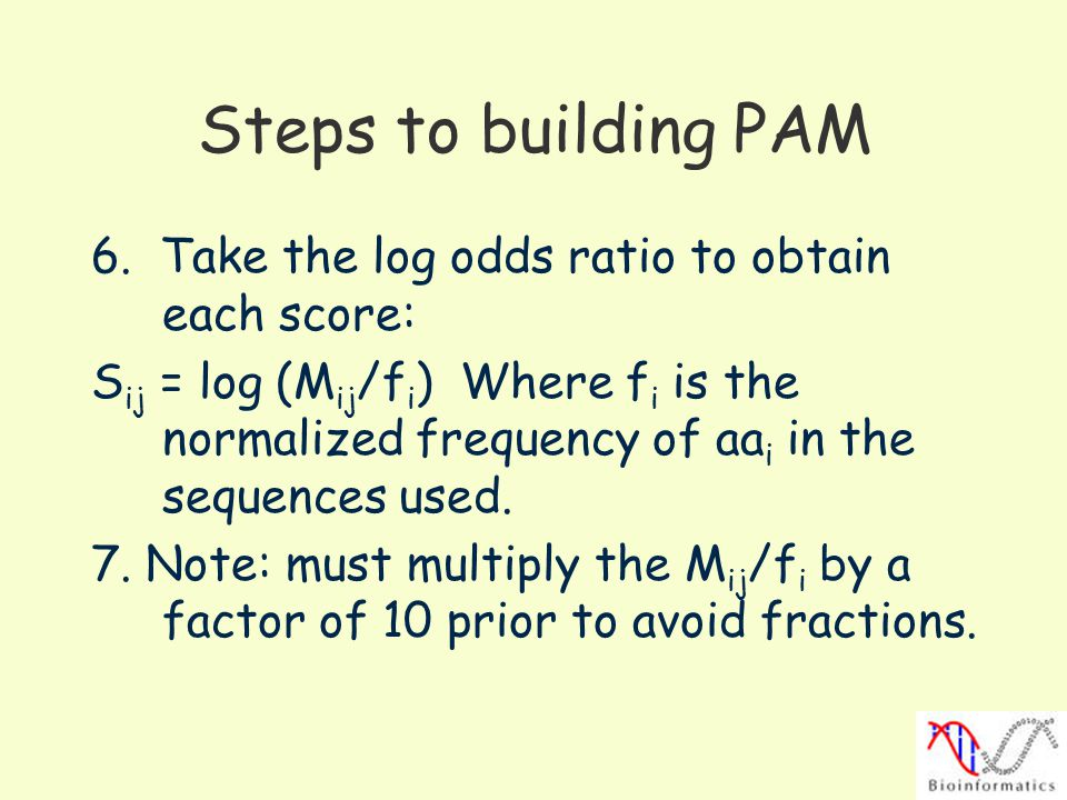 Steps to building PAM 6. Take the log odds ratio to obtain each score: