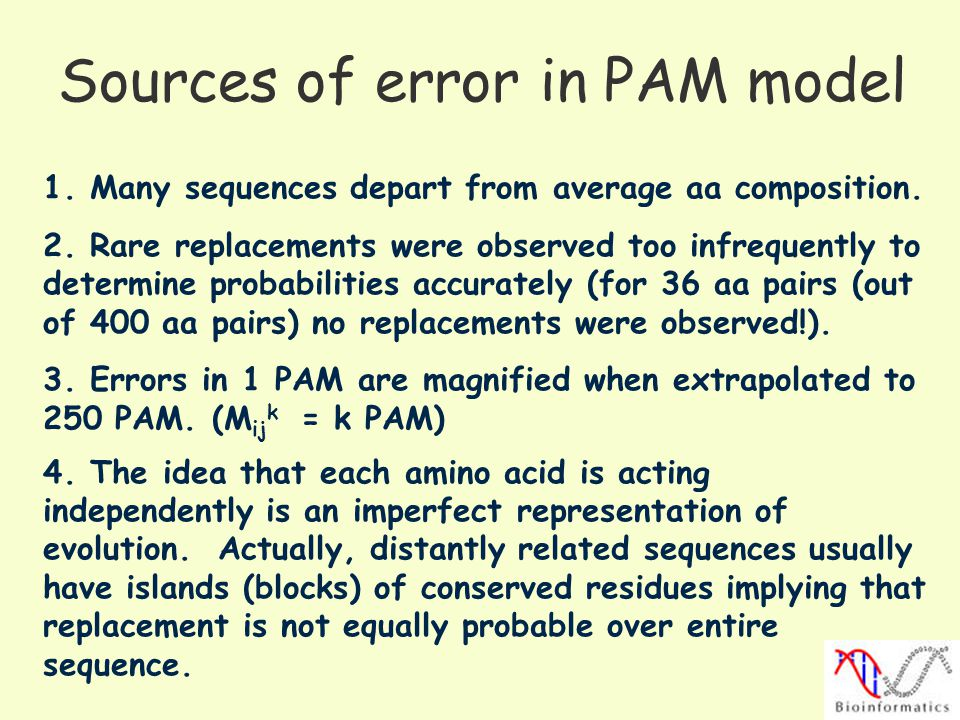 Sources of error in PAM model