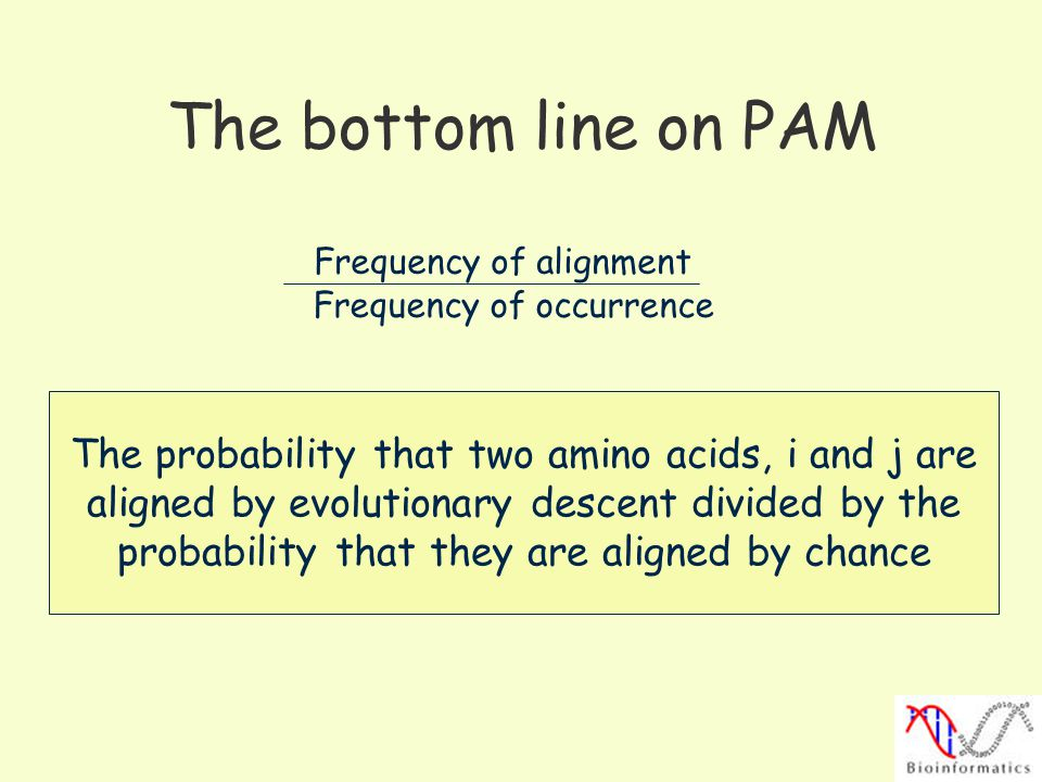 The bottom line on PAM Frequency of alignment. Frequency of occurrence. The probability that two amino acids, i and j are.